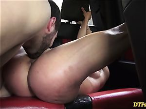 James Deen takes milf Cherie Deville for a ride on his manmeat in the car