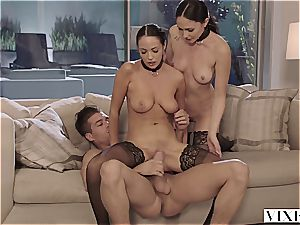 two slaves on leashes writhe on a enormous stiffy