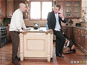 steaming dark-hued maid nearly get caught