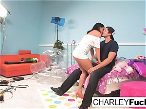 Charley pursue has some fun in this ultra-kinky three way