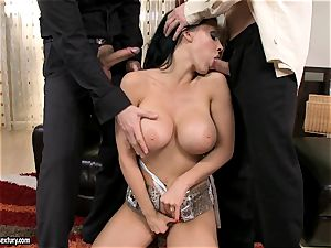 Aletta Ocean three way as she gargles off a duo of rods