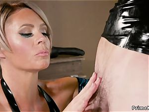 milf ash-blonde submits masculine in ribber suit