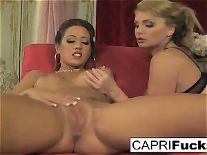 two torrid ladies With Some fucktoys pummel