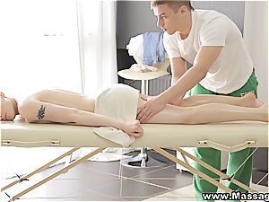 well-lubed up angelic nubile gets to inhale the masseur's beef whistle
