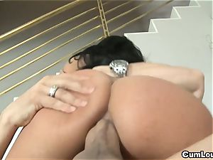 mischievous Anissa Kate rides a fat pink cigar deep in her booty