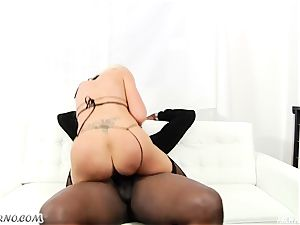 Luxury pornstar Nina Elle takes a phat dark-hued mamba in her scorching labia