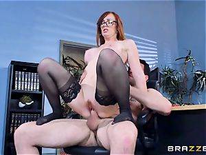 Dani Jensen frolicking with meatpipe in the office