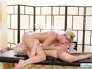 Elsa and India worships super-fucking-hot sixty nine pose on the massage table