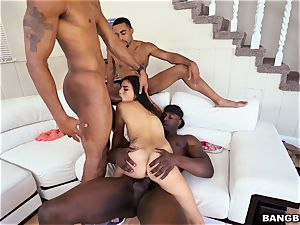 Michelle Martinez getting porked by a fountain of dark-hued rods