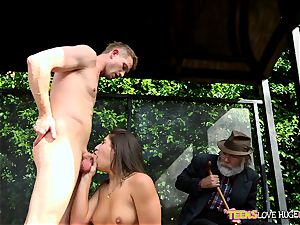jokey situation of poon wedged daughter and her grandfather sees at bus stop - Abella Danger and Bill Bailey