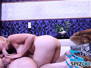 Sarah Vandella fellating and tearing up a large pink cigar