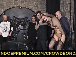 CROWD bondage - extreme bdsm ravage wheel with Tina Kay