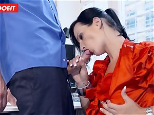 huge-titted German secretary sucking ginormous hard-on at the office