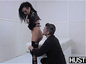 emo cougar Lola luscious vulva drilled with salami and fucktoys
