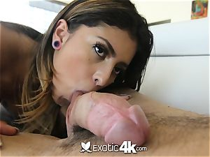 EXOTIC4K shackled up running in rivulets lube plow with Latina