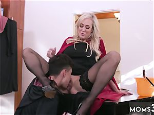 milf catches me stroking off Halloween off the hook With A threeway