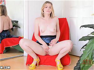 Ella Nova masturbates stiff and blows a load