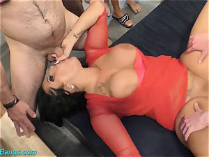 extraordinary Ashley spunk starlet group sex fuckfest