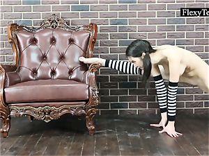 Gymnast teen Arielle performs gymnastics