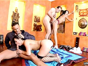 big-titted Angel pinkish and Jeny Baby have a insatiable four way