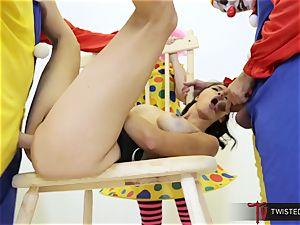 Dana Vespoli romped by creepy large pink cigar clowns